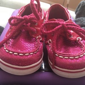 Sperry top sider hot pink sparkly baby girl shoe
